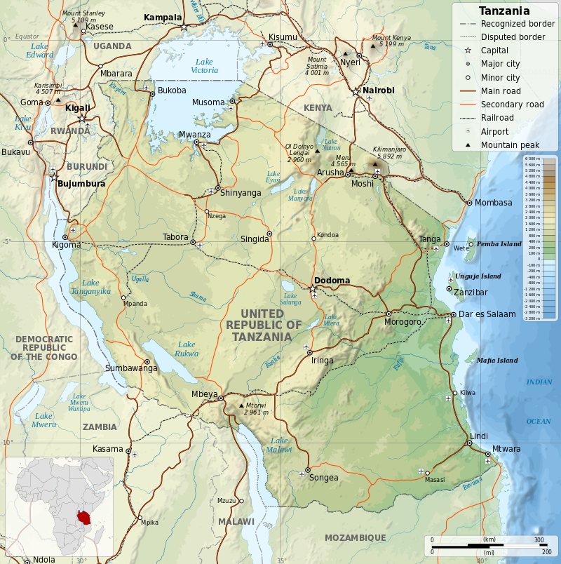 By Tanzania_map-fr.svg: SémhurTranslation: Jen - Tanzania_map-fr.svg, CC BY-SA 4.0, https://commons.wikimedia.org/w/index.php?curid=33843808